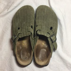 Birkenstock green corded leather clogs.